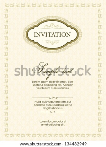 Invitation card vintage design - stock vector