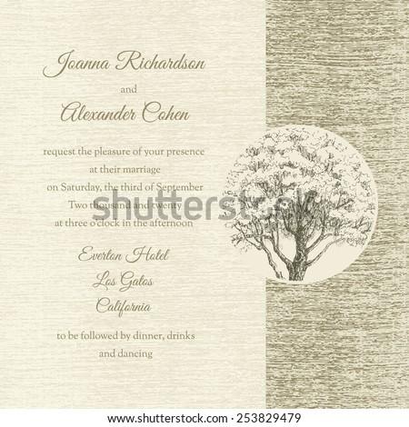 Invitation card. Wedding grunge textured invitation with tree.  - stock vector