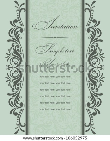 Invitation card with a green ornament - stock vector