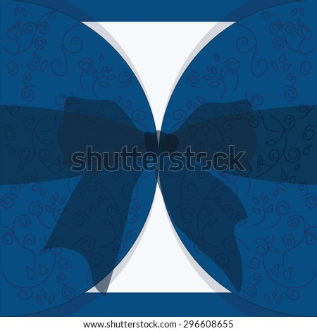 Invitation card with bow and ornaments for wedding, ceremony or anniversary in royal blue. Vector