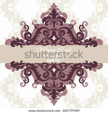 Invitation card with damask royal ornament in red. Vector