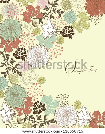 invitation card with floral background and place for text - stock vector