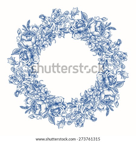 Invitation card with floral round wreath in blue. Roses, decorative peas, buttercups. Vintage vector illustration. - stock vector