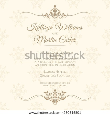 Invitation card floral seamless pattern wedding stock vector invitation card with floral seamless pattern wedding invitation vector template cards stopboris Gallery