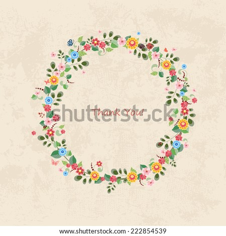 invitation card with floral wreath for your design - stock vector