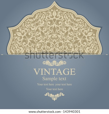 Invitation card with Flowers in a folk style - stock vector