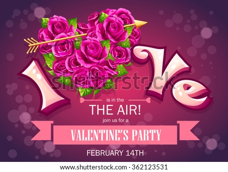 Invitation card with flowers to a party on Valentine's Day - vector illustration, editable for your graphic design. - stock vector