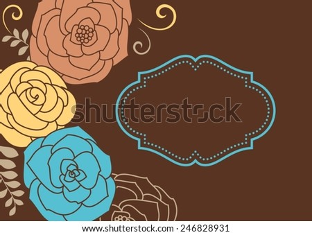 Invitation card with flowers. Vintage pattern. - stock vector