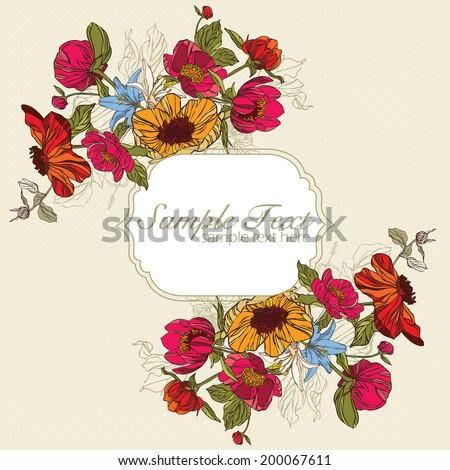 invitation card with flowersin retro style vector eps10 - stock vector