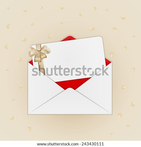 invitation card with gold ribbon and bow in open envelope on beige background with confetti - stock vector