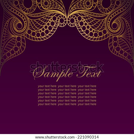 Invitation card golden lace ornament vintage gold stock vector invitation card with golden lace ornamentntage gold lace on purple background can stopboris Image collections