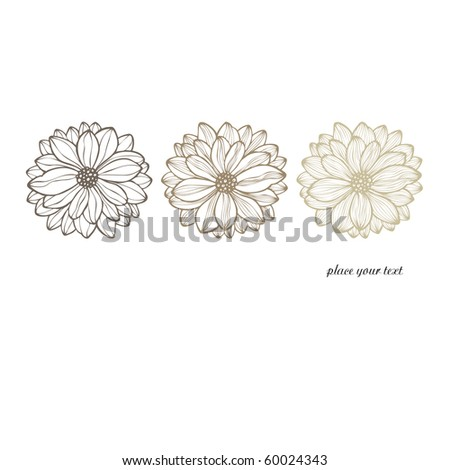 invitation card with hand drawn flowers, vector - stock vector
