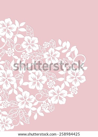 invitation card with heart from flowers  - stock vector