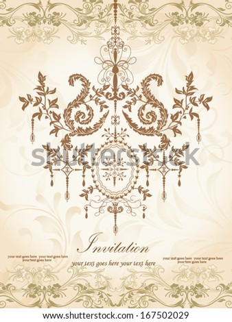 invitation card with luxury chandelier on floral background - stock vector