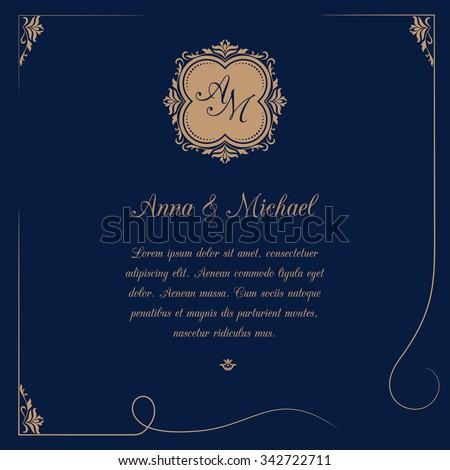Invitation card with monogram on dark blue background. Wedding invitation, Save The Date. Vintage invitation template. Vector illustration - stock vector