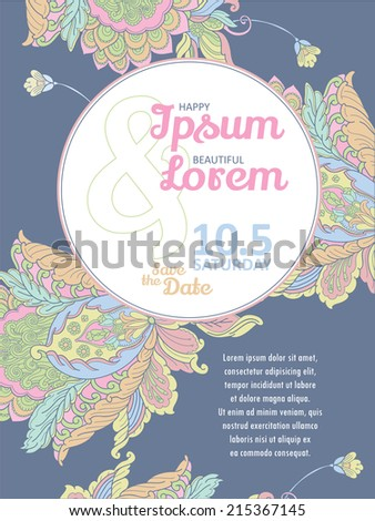 Invitation card with Soft Fantasy Flower design vector template. You can use it for invitations, flyers, postcards, cards and so on. - stock vector