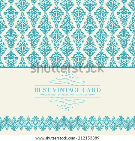 Invitation card with text place and damask pattern. Vector illustration. - stock vector