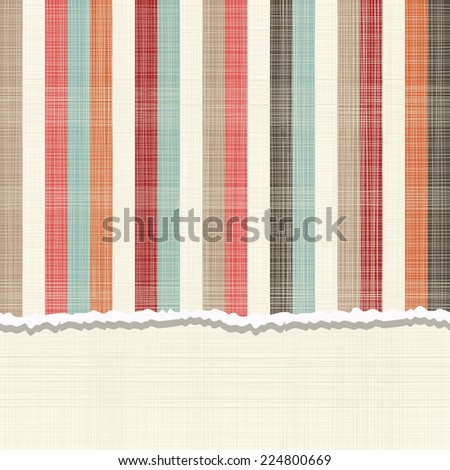 invitation card with vintage vertical colorful lines - stock vector