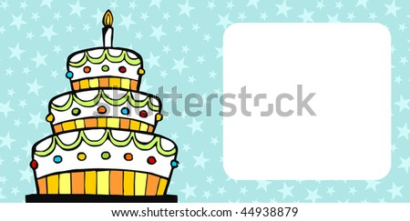 Invitation card with white birthday cake over light blue background with stars