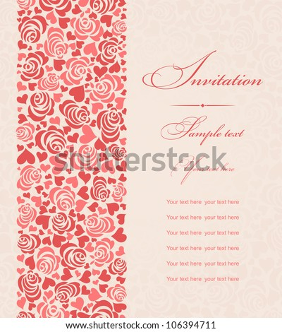 Invitation cards beige with roses and hearts - stock vector