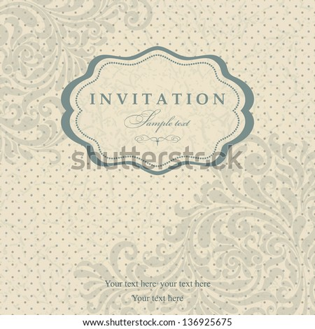 Invitation cards in an old-style blue - stock vector