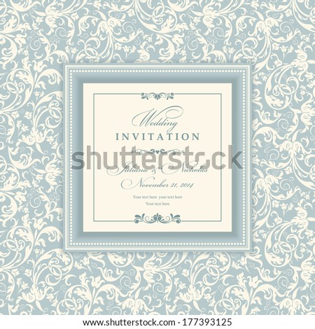 Invitation cards in an old-style blue and beige - stock vector
