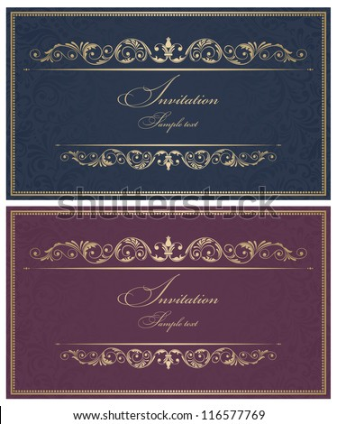 Invitation cards in an old-style gold - stock vector