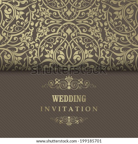 Invitation cards in an old-style gold and brown  - stock vector