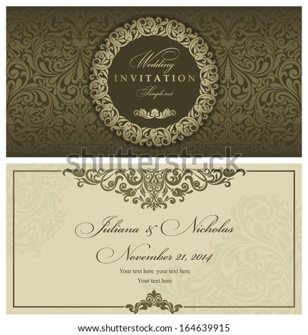 Invitation cards in an old-style green and gold  - stock vector