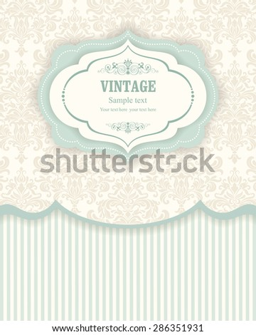 Invitation cards in an vintage-style beige and green