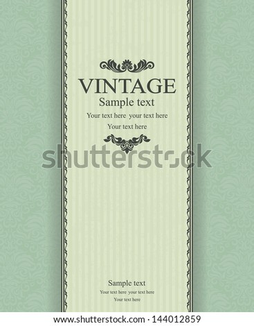 Invitation cards in an vintage-style green   - stock vector