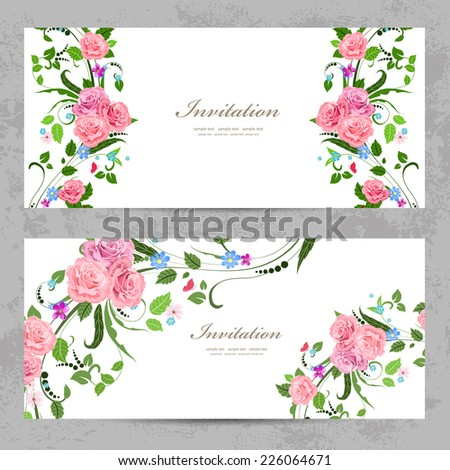 invitation cards with beautiful flowers for your design - stock vector