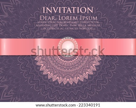 Invitation, cards with ethnic arabesque elements. Arabesque style design.  - stock vector