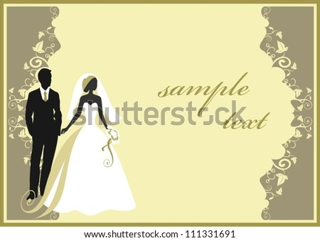 Invitation cards with the bride in a veil - stock vector