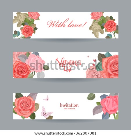 invitation cards with vintage roses with love for your design. happy valentines day