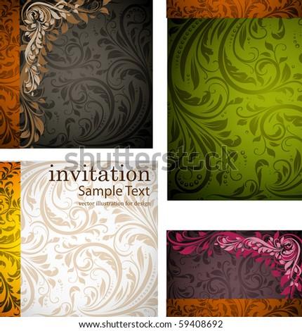 invitation complete card set - stock vector