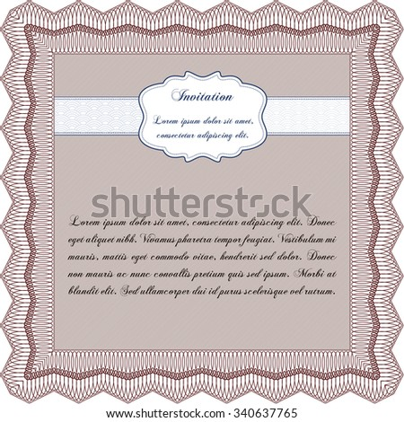 Invitation. Complex design. Customizable, Easy to edit and change colors.Easy to print.  - stock vector