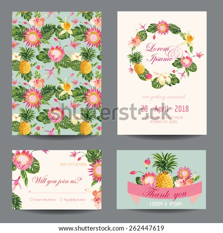 Invitation/Congratulation Card Set - for Wedding, Baby Shower - in vector - stock vector