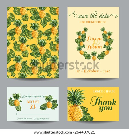 Invitation/Congratulation Card Set - for Wedding, Baby Shower - Vintage Pineapples - in vector  - stock vector
