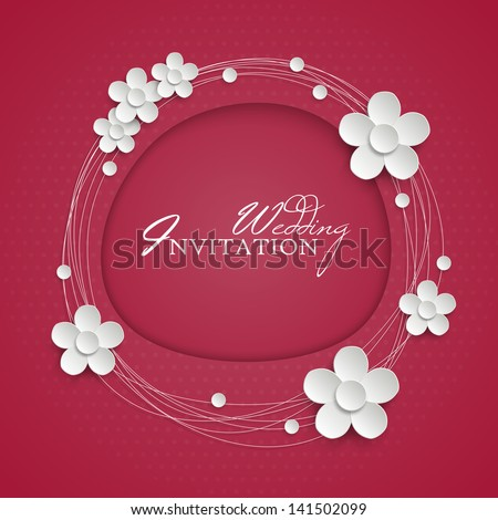 Invitation design with paper white flowers. Vector illustration