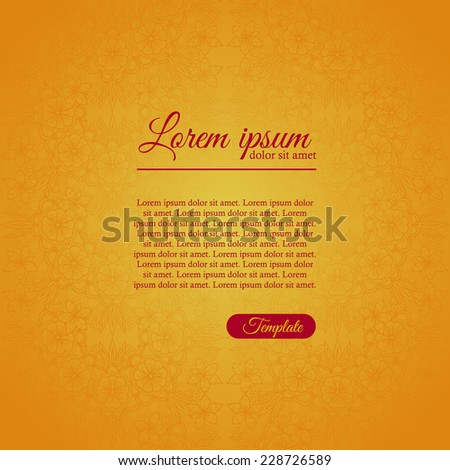 Invitation elegant template with gold ornament - stock vector