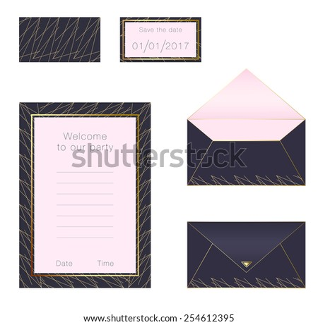 Invitation, envelope and date card template - stock vector