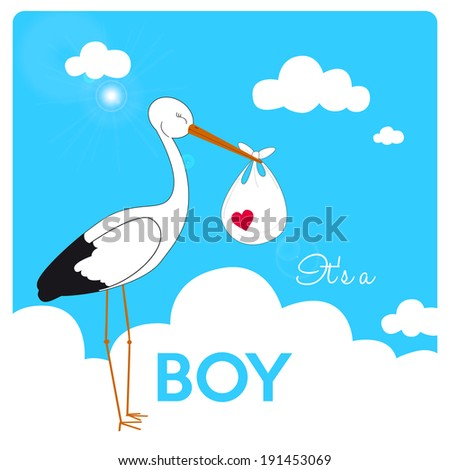 invitation for baby boy shower, stork is carrying a baby in fluffy white clouds and blue sky