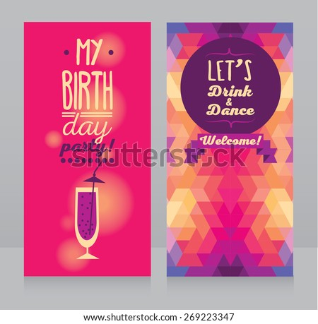 Invitation birthday party geometric background vector stock vector invitation for birthday party geometric background vector illustration stopboris Image collections