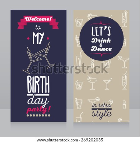 invitation for birthday party, retro design, vector illustration - stock vector