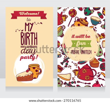 greeting card with cupcake cake and ice cream stock vector