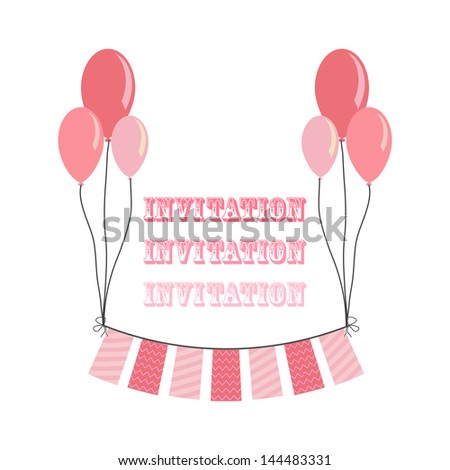 invitation for party with balloons in pink color - stock vector
