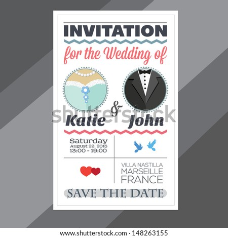 Invitation for the wedding - stock vector