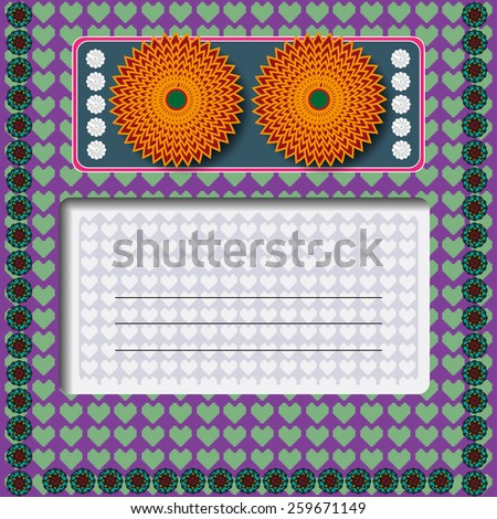 Invitation greeting card with orange flowers on purple backdrop with green hearts. Digital background vector illustration.  - stock vector