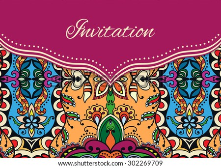 Invitation, greeting or wedding card design in a folk style with tribal ethnic ornamental pattern and place for the text. Vector floral and geometric background, islamic arabic indian motif - stock vector